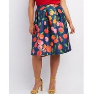 Charlotte Russe Floral print box pleat midi skirt